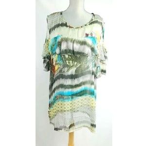 Alberto Makali Sheer Ruffled Tropical Tunic Top M